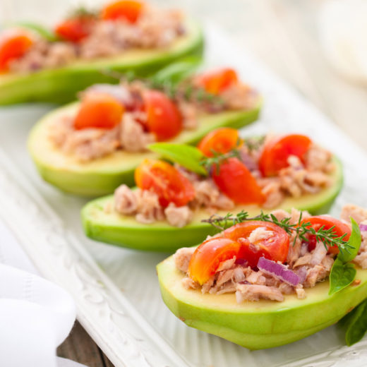 Avocado, tuna, and tomato salad photo by Vitalina Rybakova