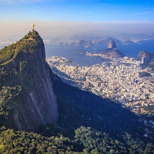 An arial shot of Chris the Redeemer in Sao Paulo, Brazil