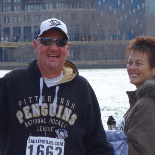 Dan and Beth smiling at the PHenomenal Hope 5K in Pittsburgh 2015