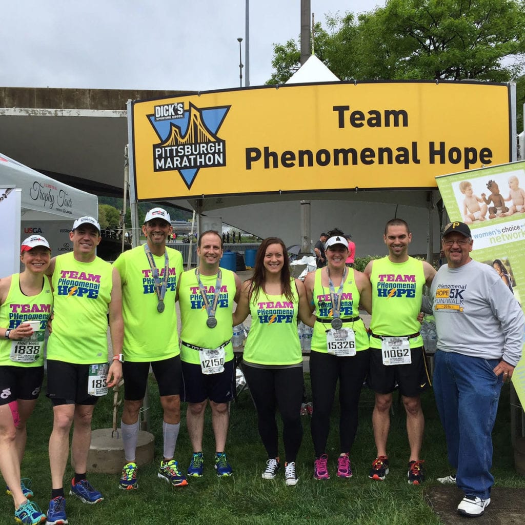 A photo from the Team PHenomenal Hope finish line at the 2016 PGH Marathon