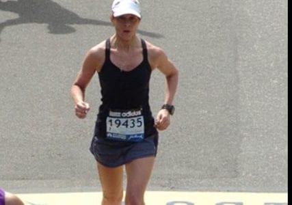 Monica Reisz finishing boston marathon