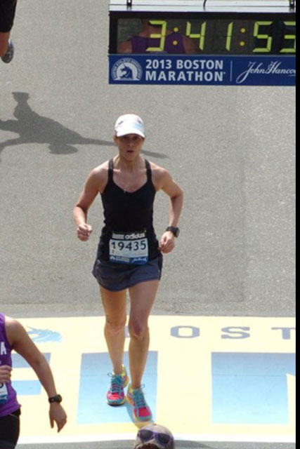 Monica Reisz finishing boston marathon