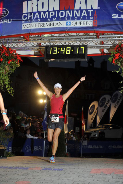 Monica Reisz finishing ironman