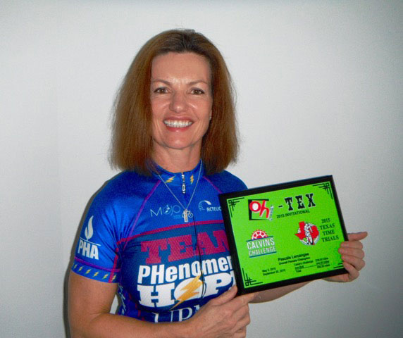 Pascale Lercangee at Oh Texas, Winner of the Oh-Tex Award highest mileage of 2 races, Calvin's Challenge and Texas time Trial, 538miles.