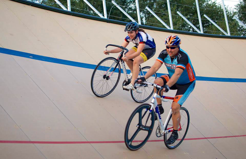 Sara Harper bicycle racing on a closed course