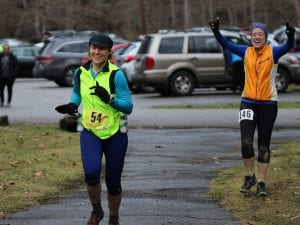 Ryanne Palmero running in the 2015 Frozen Sasquatch 50k footrace