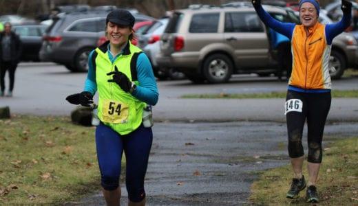 Ryanne Palmero running in the 2015 Frozen Sasquatch 50k footrace