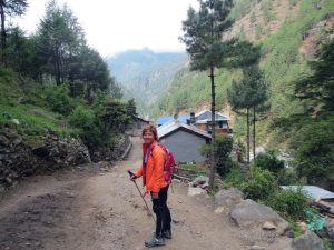 Eileen on trail in Nepal
