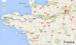 A map of Paris, France for the 2015 Paris-Brest-Paris cycling race