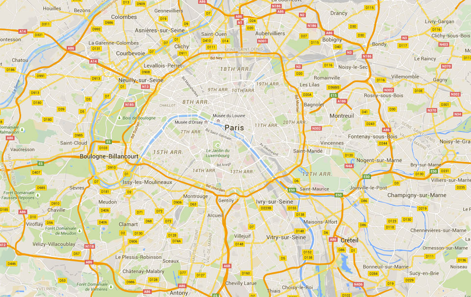 A map of Paris,France