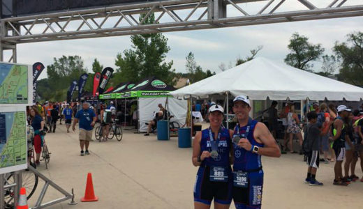 Mandy Gabarda and Mike Bauer at the Steelhead 70 Half Triathalon