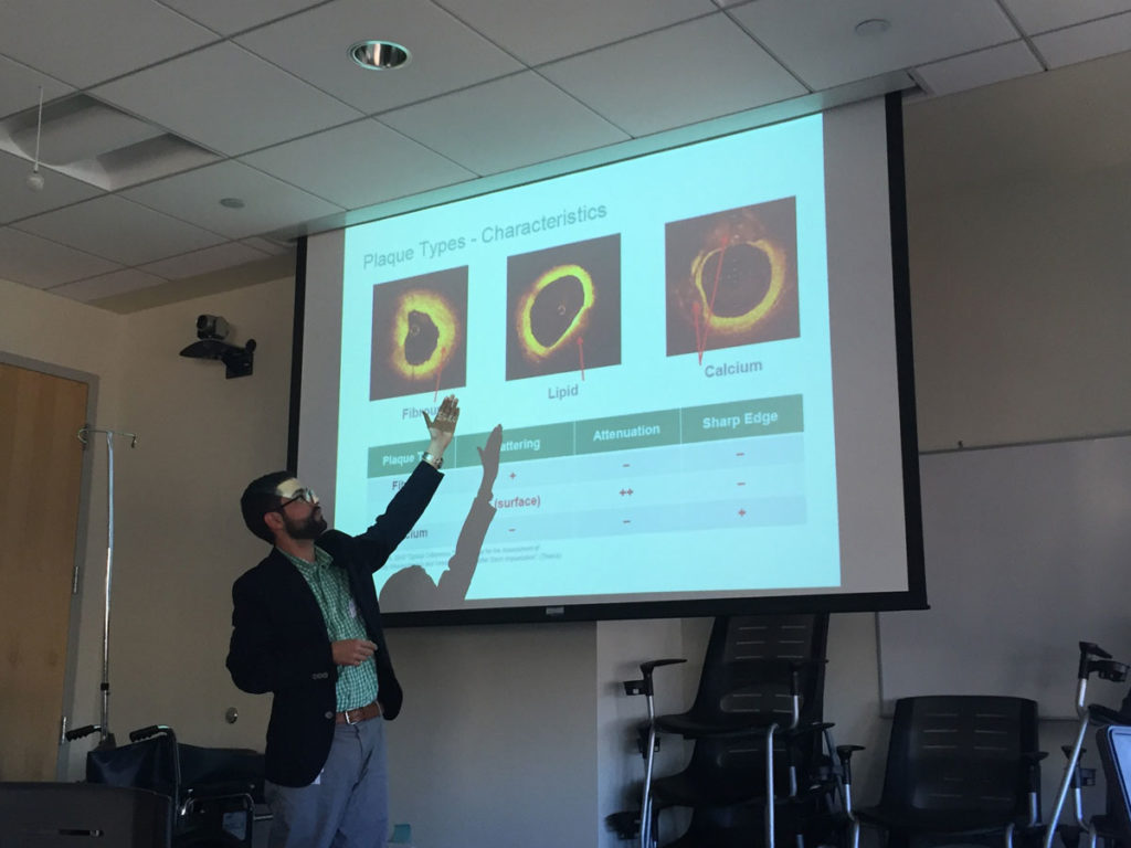 A UPMC doctor presenting a medical topic
