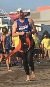 Dustin Wehler exiting water Cleveland triathlon