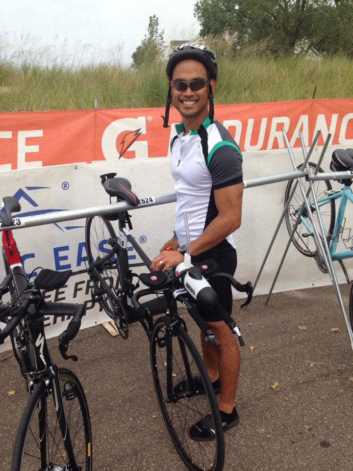 Christian Gabarda at a bike rack