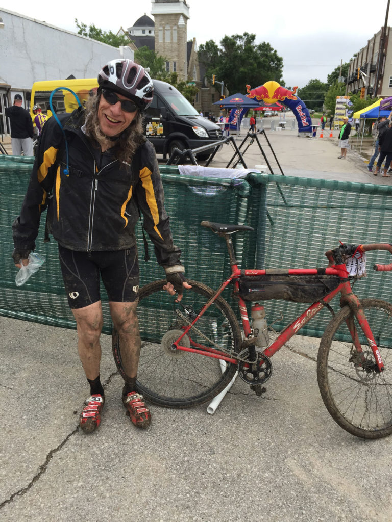 Hap Farber and a muddy bike