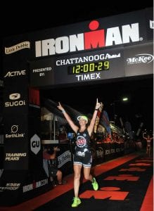 Monica Reisz finishing the Chatanooga Ironman