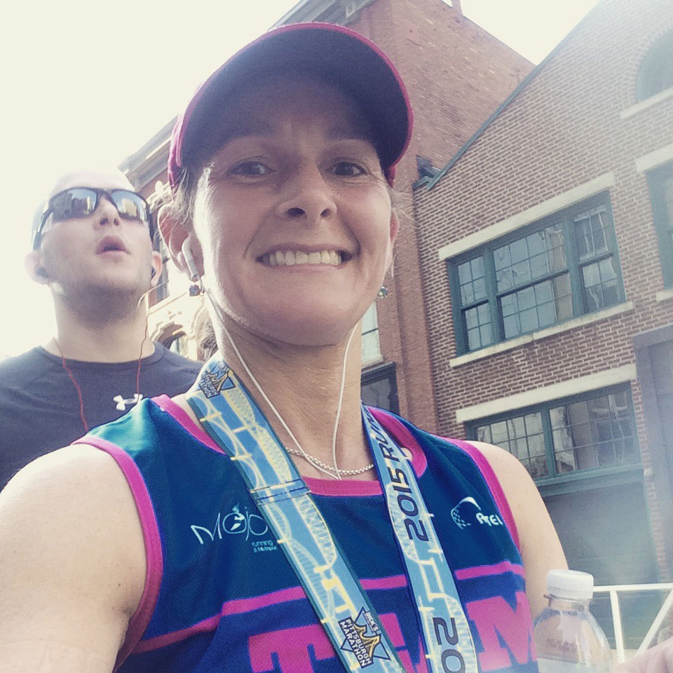 Time for a quick selfie just before the start of the 2015 Pittsburgh Marathon