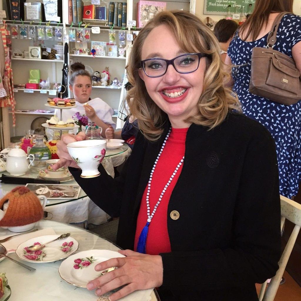 Philippa Walton of New Zealand having tea