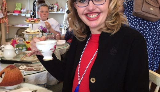Philippa Walton of New Zealand having tea