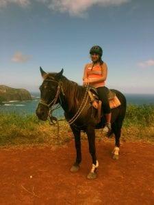 Anna Lindner on horseback in Hawaii