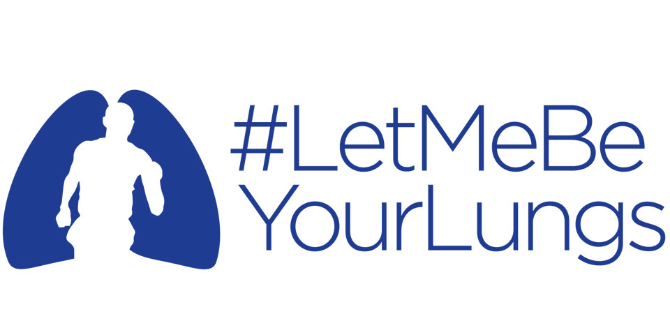 Blue logo for the Let Me Be Your Lungs campaign