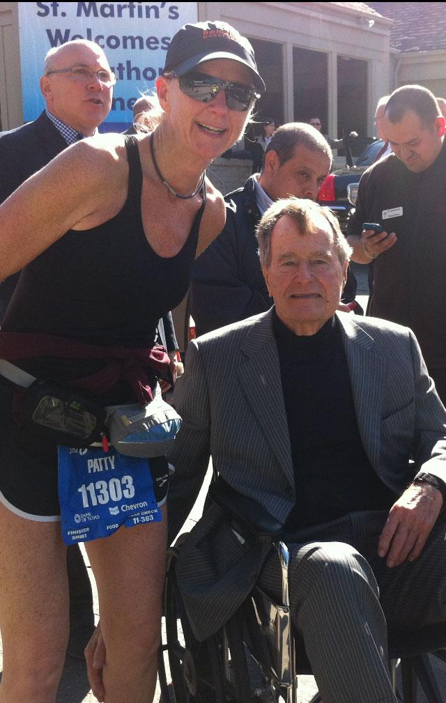 Patty Gresham racing in St Martin's and standing alongside former US President GHW Bush