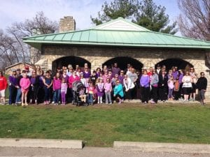 Photo from Becca Hubbard's awareness walk in 2014. She organized this walk with her sister to raise awareness about pulmonary hypertension.