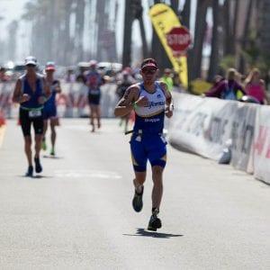 Jaime on the final leg, running in Ironman 70.3 California