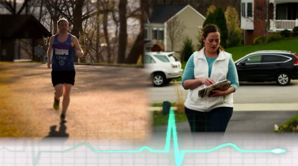 A side-by-side image of a Team PHenomenal Hope athlete training for an endurance race next to a patient with pulmonary hypertension trying to do a routine task
