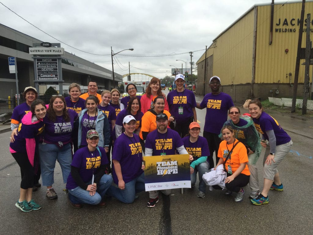 A photo from the Team PHenomenal Hope aid station at the 2016 PGH Marathon
