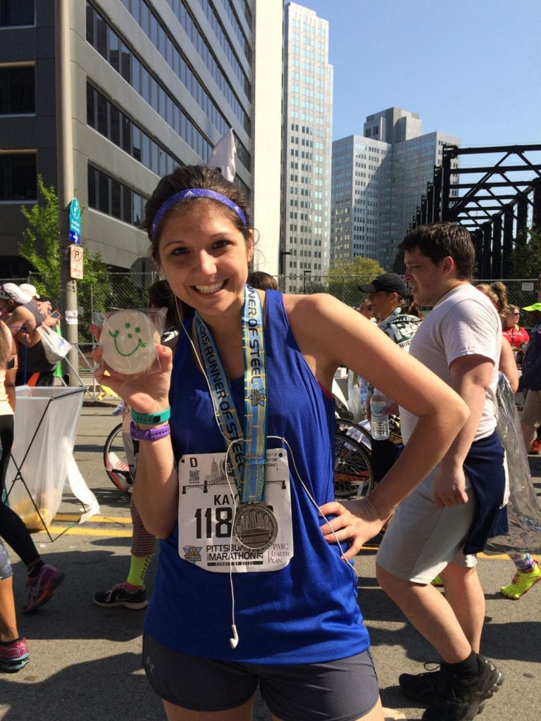 Kayla Frattini with an Eat n' Park cookie after the Pittsburgh half marathon