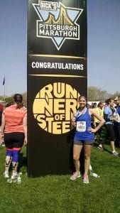 Kayla Frattini after the Pittsburgh Half Marathon