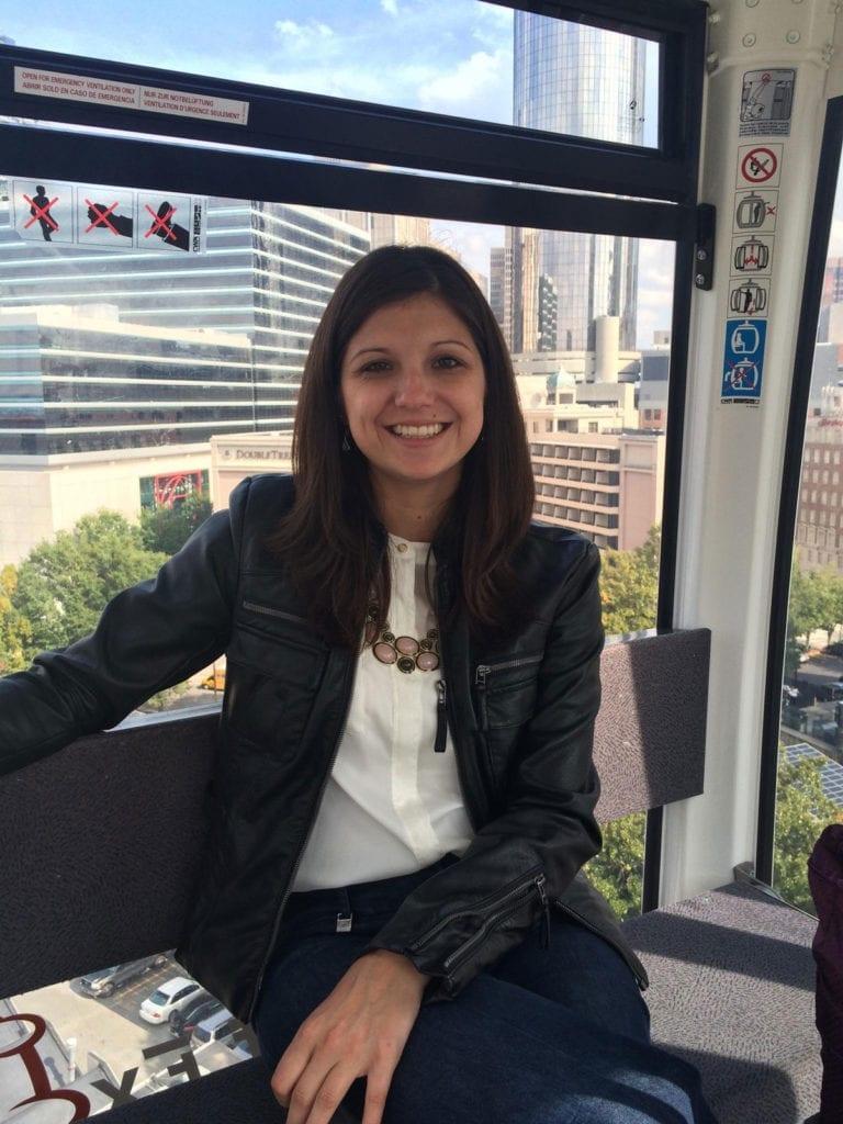 Kayla Frattini on a tram