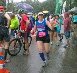 Mandy running, close to the finish
