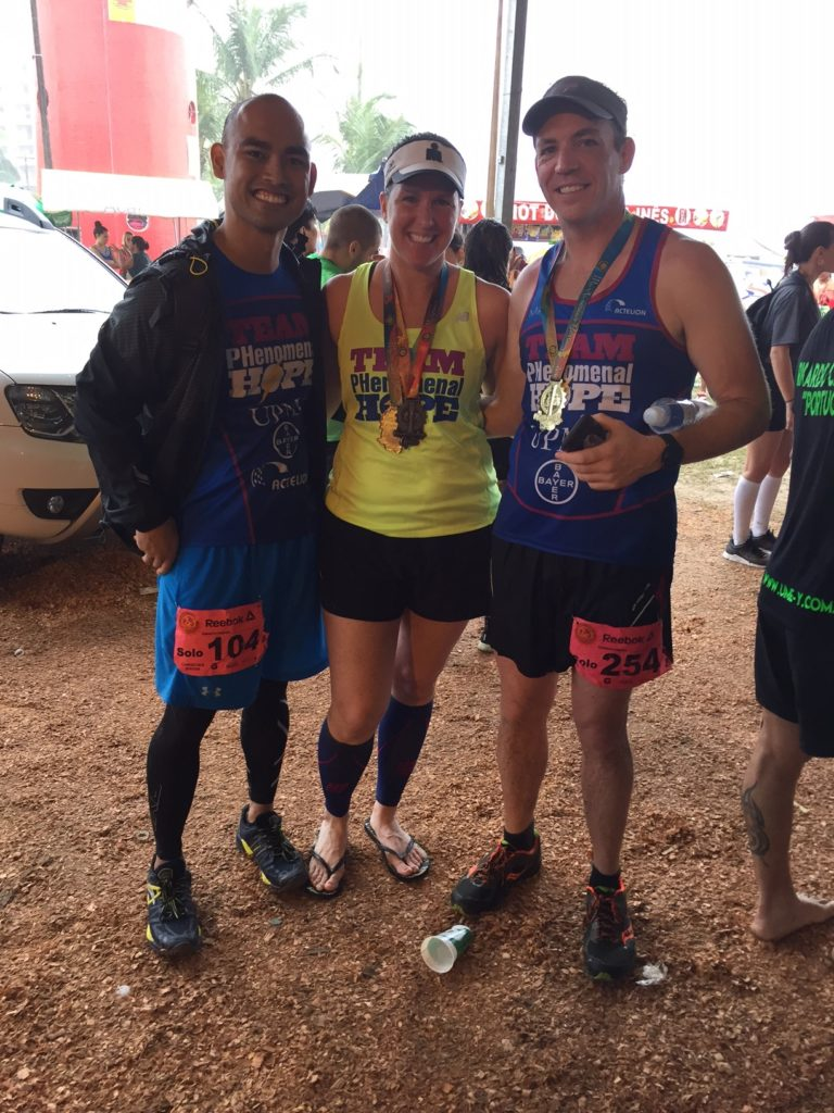 Christian, Mandy, and Mike at the finish