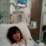 Suzanne Potterat in a hospital bed