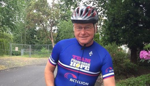 Carl Hicks on his bicycle
